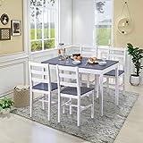 YINKUU <span class='highlight'>Dining</span> <span class='highlight'>Table</span> <span class='highlight'>and</span> Chairs <span class='highlight'>Set</span> of 4 Solid Pine Kitchen <span class='highlight'>Table</span> <span class='highlight'>and</span> Chairs <span class='highlight'>Set</span> (Grey white,1 <span class='highlight'>table</span> 4 chairs)