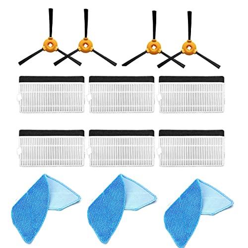 BLUELIRR Kit accessori di ricambio compatibile con aspirapolvere robot ECOVACS U2/U2 Pro, 6 filtri + 4 spazzole laterali + 3 mosse.