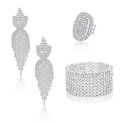 Sllaiss Juego de joyas de novia con diamantes de imitación para mujer,...