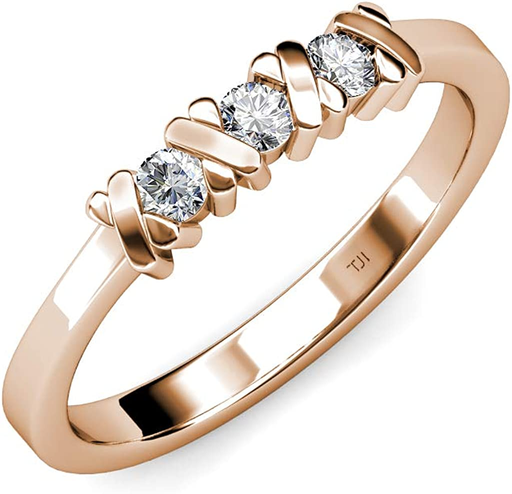 TriJewels 3mm Round Lab Grown Diamond Hugs and Kisses Womens 3 Stone Engagement Ring (VS2-SI1, G) 0.30 ctw 14K Gold