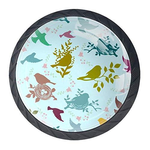 Garderobenknöpfe Bunte Blumen Griffe Schubladengriffe Dekorative Schrankgriffe für Badezimmer 4er Set, mehrfarbig