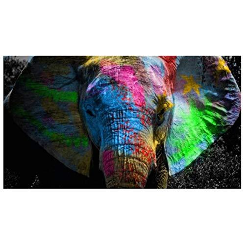 zxianc Bunte Elefanten Graffiti Kunst Leinwand Gemälde Wandkunst Poster und Drucke Afrikanische Tiere Bilder Wohnzimmer Dekoration 70x140cm / 27,5