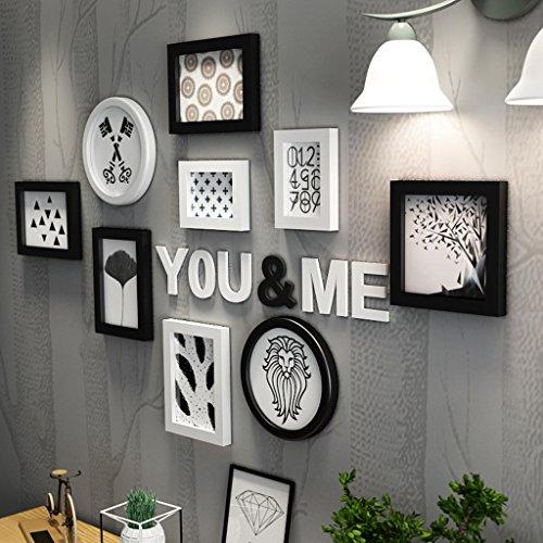 Cadre Photo organiser mur salon panneau créatif en bois-plastique cadre décoration murale combinée (Couleur : Noir et blanc)