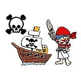 Parches - Set pirata barco niños - colorido - diferentes tamaños - termoadhesivos bordados aplique para ropa