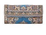 Portafoglio etnico con portamonete lungo, con il motivo di un tappeto, da donna, borsa lunga a mano molto capiente, pochette portamonete, portafoglio in tessuto Blu Blu - Beige