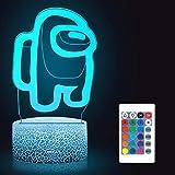 Huanchenda Amo-ng Us Lámpara Ilusión 3D, 16 Colores Cambian, Luz Nocturna Lámpara de Noche para Decoración de Dormitorio