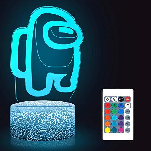Huanchenda Among Us 3D Nachtlicht für kinder, 16 Farben Nachtlicht Among Us Tischlampe, Dekorieren kinder Bedroom
