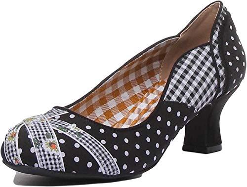 Ruby Shoo Paula Black White Womens Mid Heels Shoes