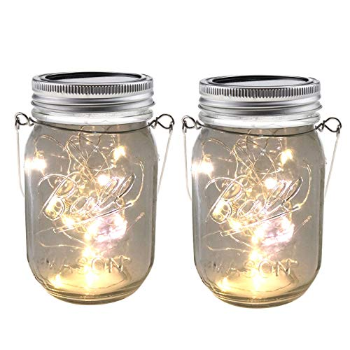 Create Idea 2 unids Mason Jar lámpara solar luz patio decoración linternas conjunto IP65 20LED blanco cálido patio jardín patio patio césped boda fiesta cubierta decoración