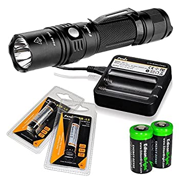 EdisonBright Fenix PD35 2015 Edition 1000 Lumen CREE XP-L LED Tactical Flashlight with 2X Fenix ARB-L2 18650 Rechargeable Batteries Fenix are-C1 Battery Charger and Two CR123A Lithium Batteries