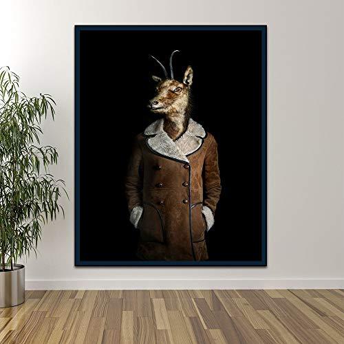N / A Quadro Senza Cornice Pittura Astratta su Tela Animale e Tela Wall Art per Studio di casa Studio Stampa Decorazione ZGQ7858 30X40cm