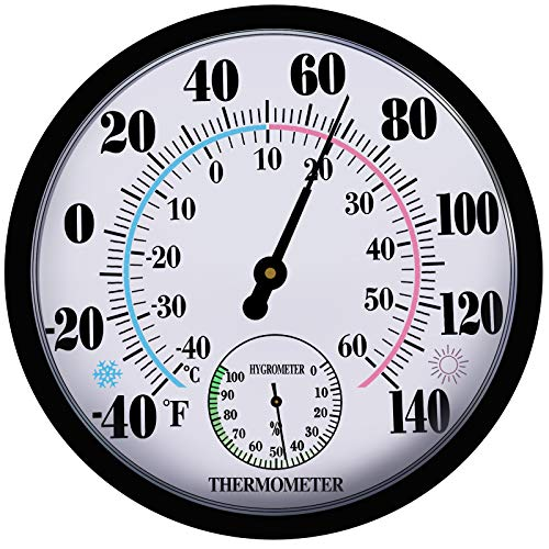 Indoor Outdoor Thermometer Hygrometer - Weather Thermometer and Hygrometer No Battery Needed Hanging Thermometer for Patio, Large Wall Hygrometer Round 10'' in Diameter (Black-2)