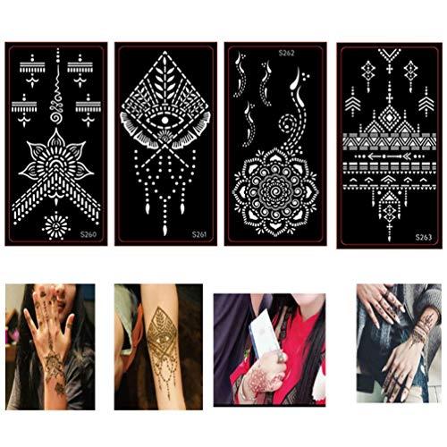 Xmasir 40 Blatt selbstklebende Henna Tattoo Schablonen Kit, Mehndi-Vorlage für Tätowierungs-Körperkunst,die indische arabische Airbrush-Tattoos malt