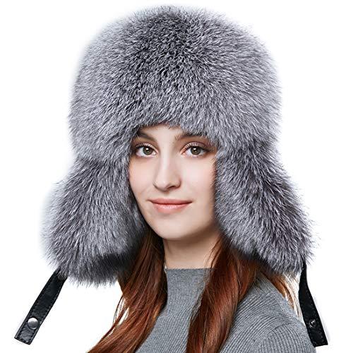 BeFur Winter Men Real Fox Fur Hat Genuine Leather Russia Aviator Hats Lamb Leather Caps Bomber Hat Ushanka
