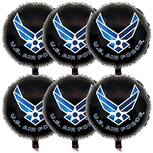 """Havercamp 6PCS U.S. Air Force Crest Logo, 3-18"""" Round Mylar Balloons. Officially Licensed with The U.S. Air Force Military"""