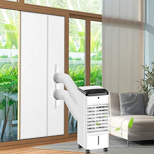 LADYSON Türdichtungsset für mobile Klimaanlage, Luftaustauschschutz mit Reißverschluss für mobile Klimaanlage Wäschetrockner, geeignet für Balkontüren und Terrassentüren, Heißluftstopper