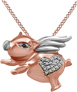 Black and White Natural Diamond Flying Pig Pendant Necklace 14k Gold Over Sterling Silver