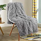 YOH Warm Shaggy Sherpa Reversible Throw Blanket, Fluffy Soft Long Hair Fuzzy Faux Fur Grey Blanket for Man and Woman Couch Bed Sofa Photo Props Home Decorative Throws, (60x50 Inches) Grey