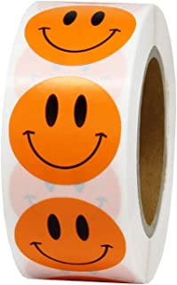 Hcode 1 inch Smiley Face Stickers Roll Happy Face Stickers Circle Dots Paper Labels Reward Stickers Teachers Stickers 500 Pieces per Roll (1