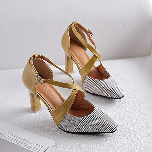 Sommer High Heels Damen Pumps Cross Strap 8cm Dünne Ferse Schuhe Frau Hochzeitskleid Schuhe 7.5 gelb