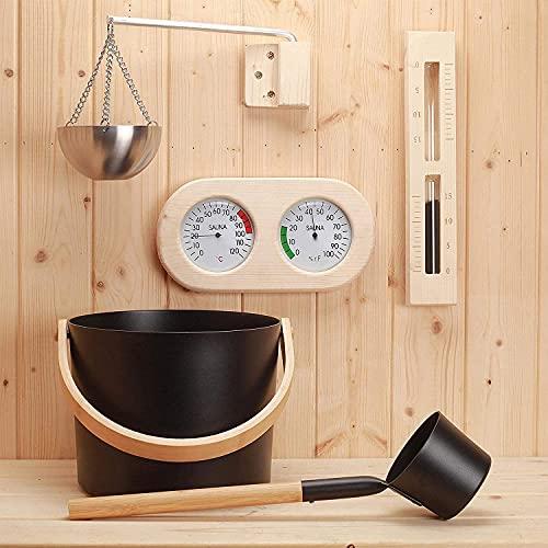 PEALOV SaunaküBel Mit Kelle,Sauna Eimer Set Mit LöFfel, Sauna ZubehöR Set Mit SchöPfkelle/Sanduhr/Thermometer Hygrometer/Sauna Aromatherapie öLbecher Set - 5er Zum Saunadampfen SaunaküBel Set