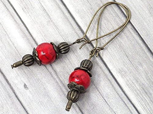 Pendientes Thurcolas de estilo vintage en turquesa roja reconstituida montados en elegantes aros de bronce antiguo