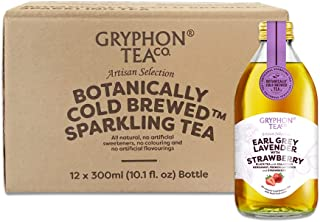 Gryphon Cold Brew Sparkling Tea Earl Grey Lavender with Strawberry (Pack of 12) (packaging may vary)