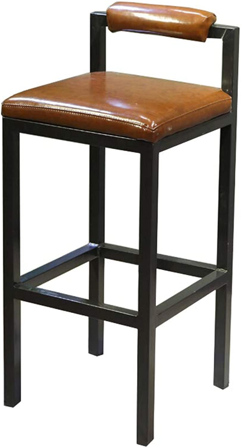 Bar Stool Bar Table and Chair Against The Wall Bar Table High Chair Height 75cm Coffee Shop Tea Shop Wrought Iron Chair Multicolor (color   Brown)