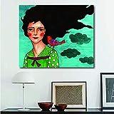 DCLZYF Nórdico Moderno Chica Encantadora Estilo de Moda Lienzo Pintura Arte impresión Carteles imágenes Pared Sala de Estar decoración del hogar-50x60cm (sin Marco)