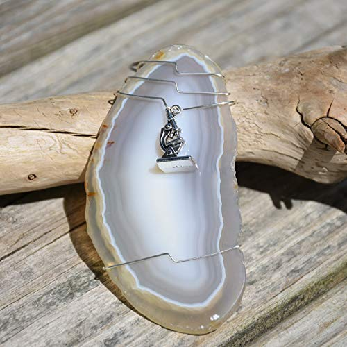 Agate Slice Ornament with Silver Microscope Charm for a Biologist, Lab Tech or Scientist - Choose Agate Slice Color Aqua, Pink, Purple or Natural - Made to Order