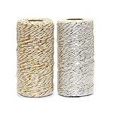 Ewparts 200 Metros Cordón de Hilo de algodón de Color Dorado/Plata 2ply, para el Regalo Que Envuelve/Guita de Las Etiquetas, 2 Rodillos (Guita del algodón del Oro/de la Plata)