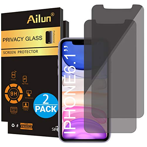 Ailun Privacy Screen Protector for iPhone 11/iPhone XR 6.1Inch 2 Pack Japanese Glass 0.25mm Anti Spy Tempered Glass Anti Scratch Case Friendly