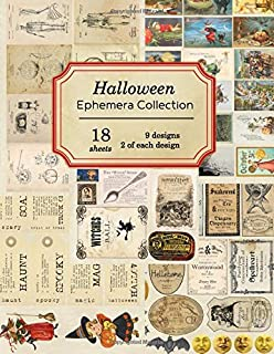 Halloween Ephemera Collection: 18 sheets - over 190 vintage Ephemera pieces for DIY Halloween cards,journals and decoration (Vintage Ephemera Collection)