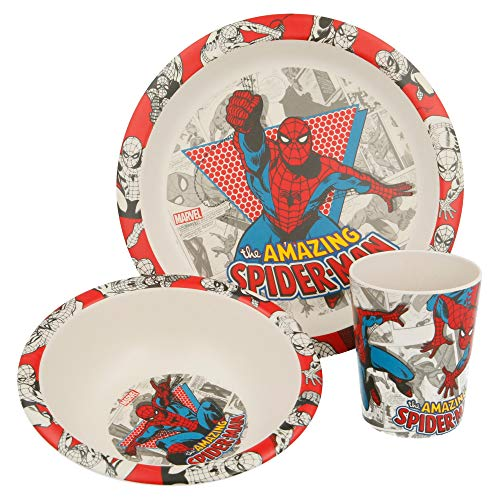 Set DE Bambu 3 PCS (Plato, Cuenco Y Vaso 270 ML) | Spiderman