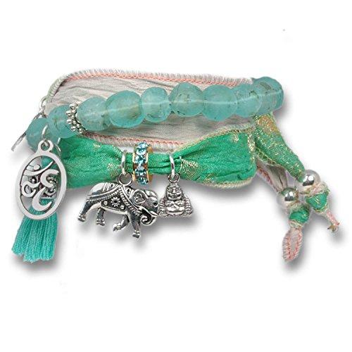 Anisch de la Cara - Set di bracciali portafortuna da donna Joy & Happiness Mint-Rosé Delight in...