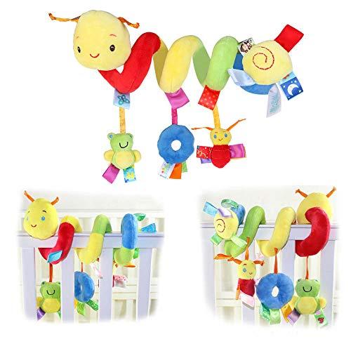 Baby Pram Crib Toys, Spiral Crib Baby Strollers Toys, Spiral Activity Hanging Plush Toys, Crib Hanging Spiral Plush Toy, Pram Toys For Babies, for Boys And Girls Prams Bed Car Pushchairs Strollers Toy