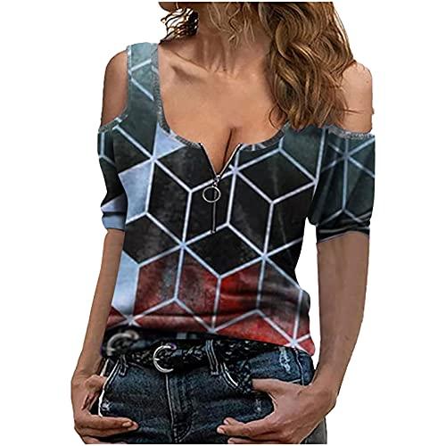 Moda Primavera Verano 2021, Camisetas Mujer Originales, Camisetas Basicas Mujer, Moda para Mujer Casual Estampado A Cuadros Manga Corta Cuello En V Cremallera En La Parte Superior del Hombro