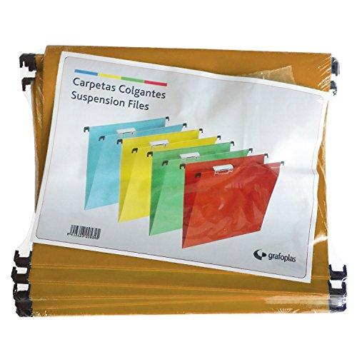 GrafoplasCaja 50 Carpetas Colgante Folio Kraft con Visor Superior Corto 65MM Efecto Lupa 🔥