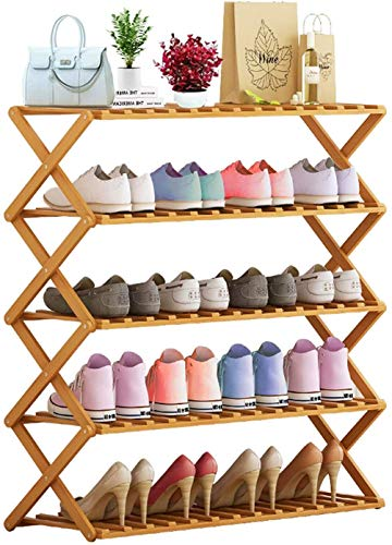 Cretee Zapateros de pie Independiente de 5 Niveles Estante Plegable para Zapatos Estantes de exhibición de Organizador de bambú, 80 * 73 * 31cm