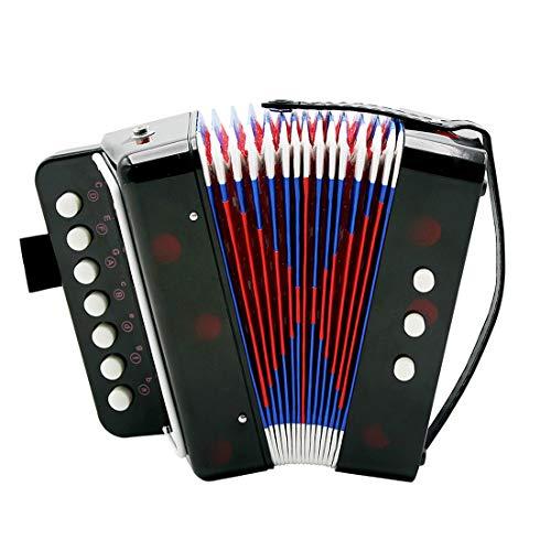 SFQNPA Kinder Kinder Akkordeon Tasteninstrumente mit 7 Höhen Tasten 3 Luftventile Handschlaufe Early Learning Eduction Instrument Musik Spielzeug Schwarz