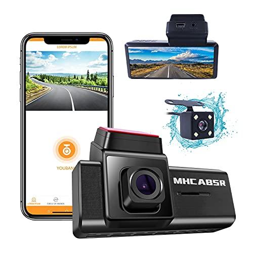 Wifi Car Dash Cam, MHCABSR Registratore di guida 1080P Telecamera per cruscotto con vista anteriore e posteriore con APP, visione notturna, registrazione in loop, rilevamento del movimento