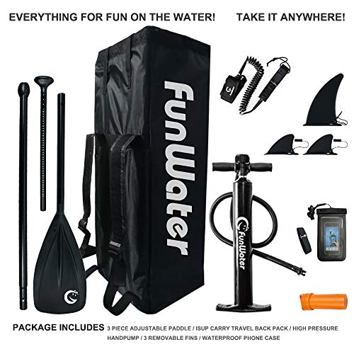 """FunWater Inflatable 10'6×33""""×6"""" Ultra-Light (17.6lbs) SUP for All Skill Levels Everything Included with Stand Up Paddle Board, Adj Paddle, Pump, ISUP Travel Backpack, Leash, Repair Kit, Waterproof Bag"""