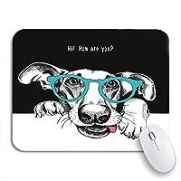 ROSECNY 可愛いマウスパッド メガネで面白い犬の手の肖像画動物ヒップスター滑り止めゴムバッキングノートブック用マウスパッド