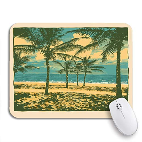 VICAFUCI Mauspad,rechteckig,Anti-Rutsch-Mauspad,Goa tropische idyllische Landschaft Palmen Bäume und Strand Karibik,Maus,Computer,Mausunterlage,Unterlage,Schreibtisch,Schreibtischunterlage