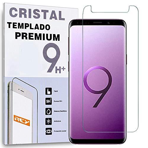 REY Protector de Pantalla para Samsung Galaxy S9 Plus, Cristal Vidrio Templado Premium