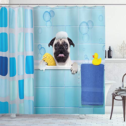 Lunarable Pug Shower Curtain, Pug Dog in a Bathtub with Funny Expression Yellow Duck and Towel Domestic Pet Wash Time, Cloth Fabric Bathroom Decor Set with Hooks, 70' Long, Blue Yellow