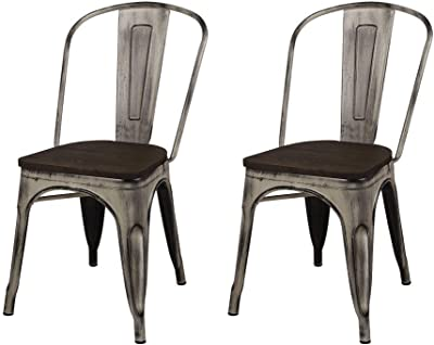 GIA High Back Armless Metal Chair, 2-Pack, Antique White/Dark Wood