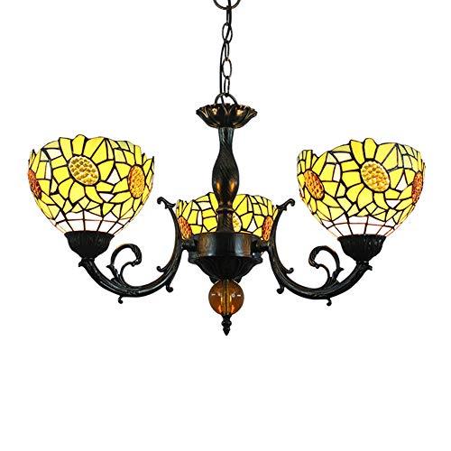 Luminaria colgante de techo Lámpara pendiente de Tiffany manchado del estilo de la lámpara de cristal amarillo de la flor de Sun cortinas de la lámpara 3 armas de la lámpara de techo invertido