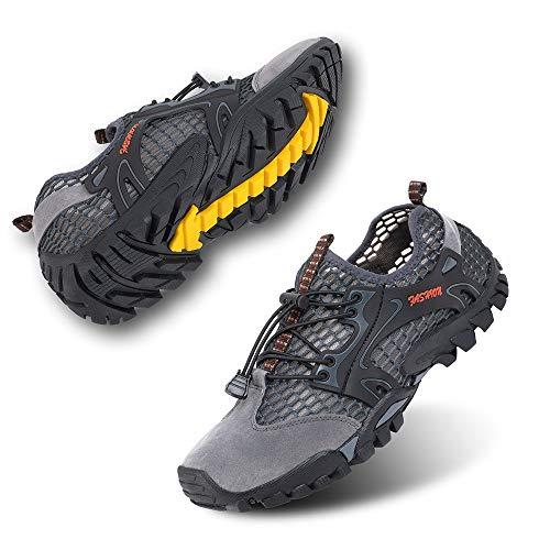 Zapatillas de Trail Running Hombre Barefoot Zapatos de Agua Surf Escarpines Buceo Piscina Playa Trekking Deportes Secado Rápido Gris-1 39 EU