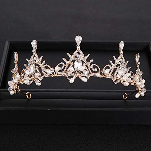MLDSJQJ À la Mode Golden Wedding Crown Pearl Strass Crystal Crown Handmade Bridal Hair Accessories Crown Wedding Hair Accessories Gifts,Silver